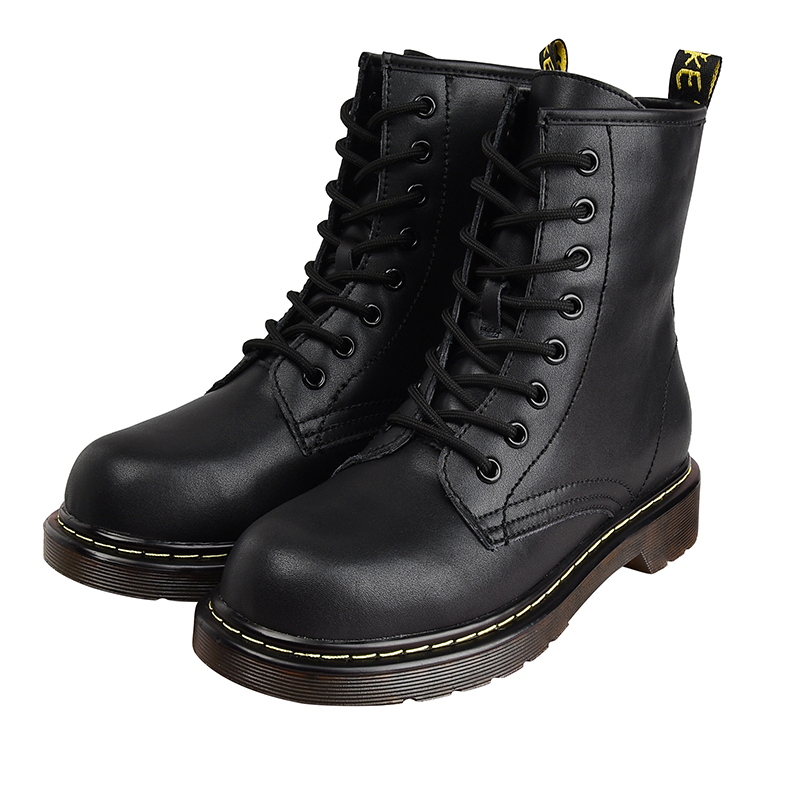 Womens Fashion Combat Ankle Boots Thick Bottom Flat Heel Booties Lace Up Shoes