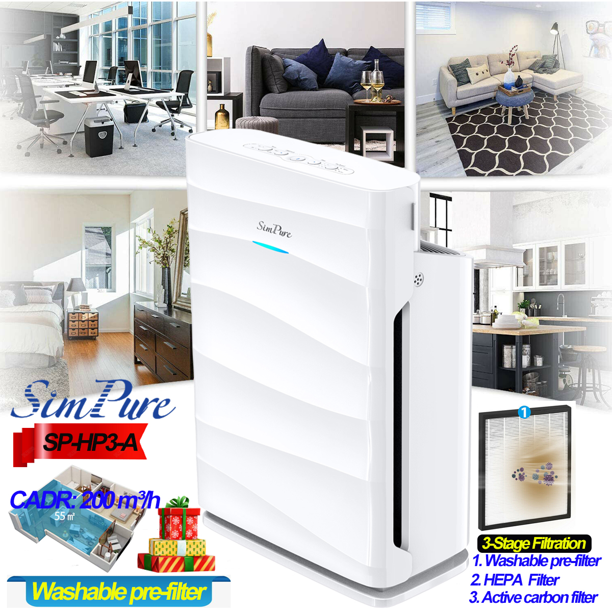 HP3-A Air Purifier Home Large Room w/HEPA Filter,Air Cleaner