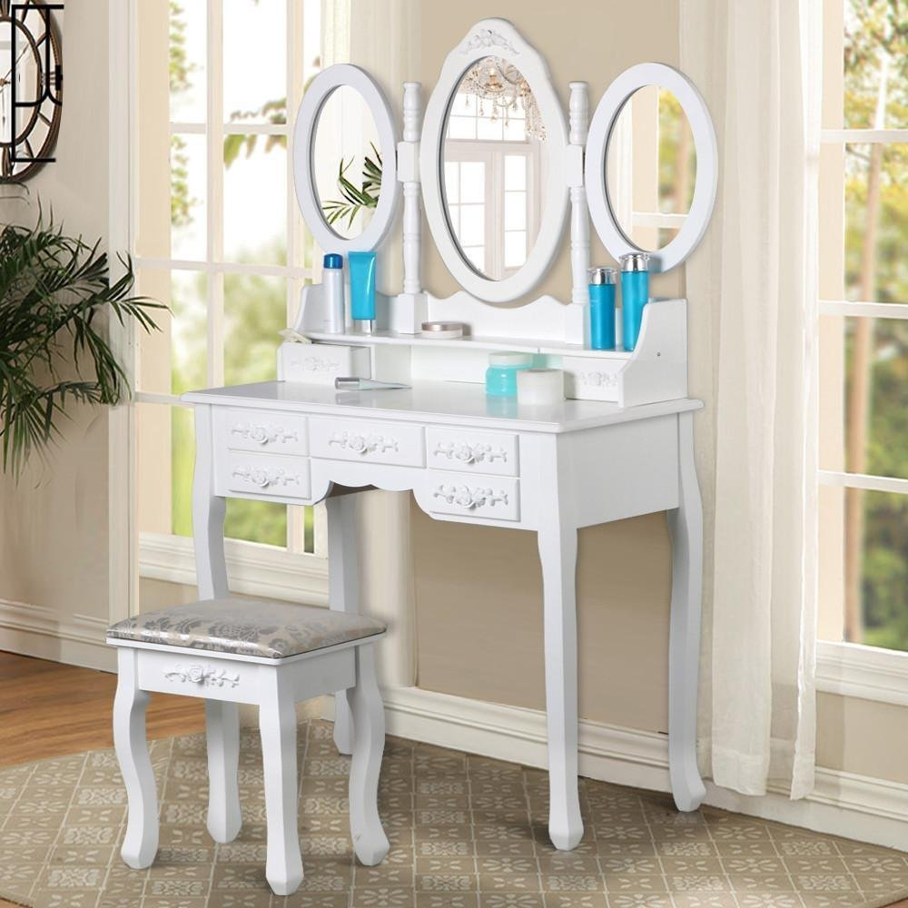 Makeup Table Desk Mirrored Vanity with Mirror and Chair for Girls ... 27aa23abc1