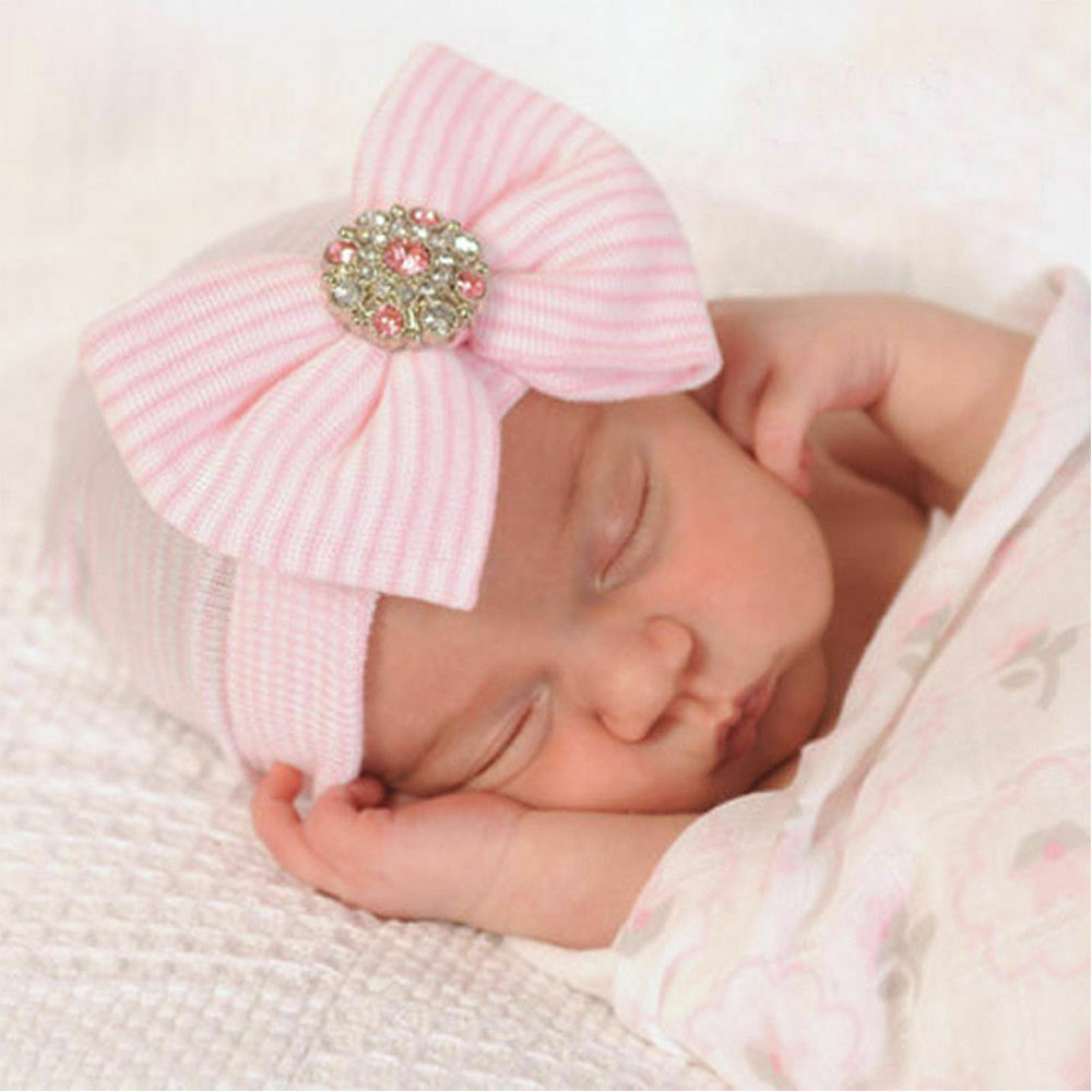 Pink Baby Girl Kids Infant Striped Soft Hat with Bow Hospital Newborn Beanie Cap