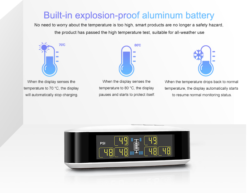 Smart Auto TPMS Reifendruckkontrollsystem Solarstrom Lade Digital LCD Anzeige GE