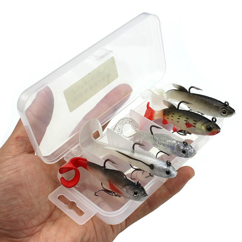 Mehrfarbig-Tasche-Kabel-Fisch-Set-Box-und-Weichen-Koeder-5-Teile-Fischkoeder Indexbild 3