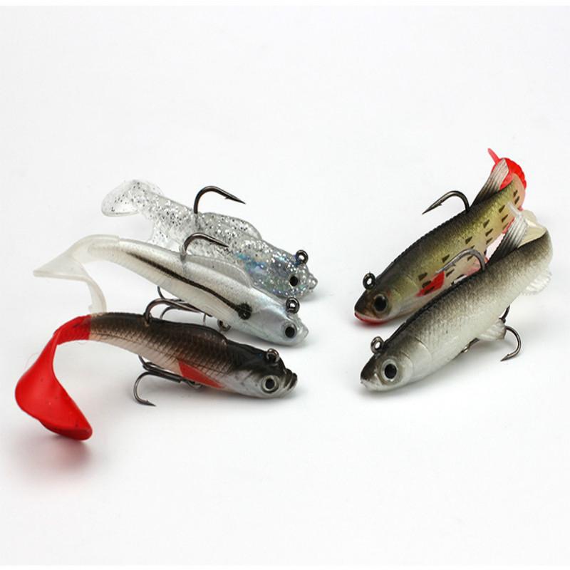 Mehrfarbig-Tasche-Kabel-Fisch-Set-Box-und-Weichen-Koeder-5-Teile-Fischkoeder