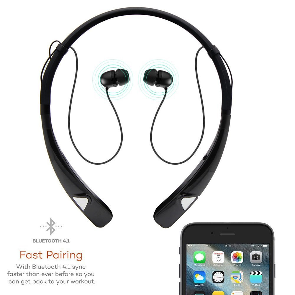 Bluetooth Headset Retractable Earbuds Neckband Sports Headphones Flashdisk 8gb Usb Cable 1 English Manual Original Packaging