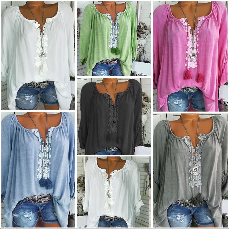 Plus Size Women Boho Baggy Tunic Tops T-Shirt Ladies Loose Blouse Summer Casual