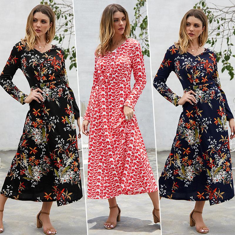 Women Autumn Boho Loose Long Sleeve Maxi Dress Holiday Kaftan Gown Pocket UK