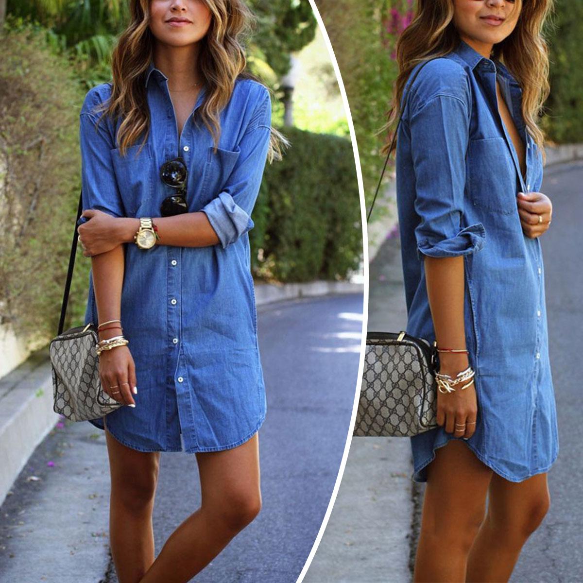 Details about US Summer Women Jeans Denim Shirt Dress Long Sleeve Causal  Mini Dress Plus Size