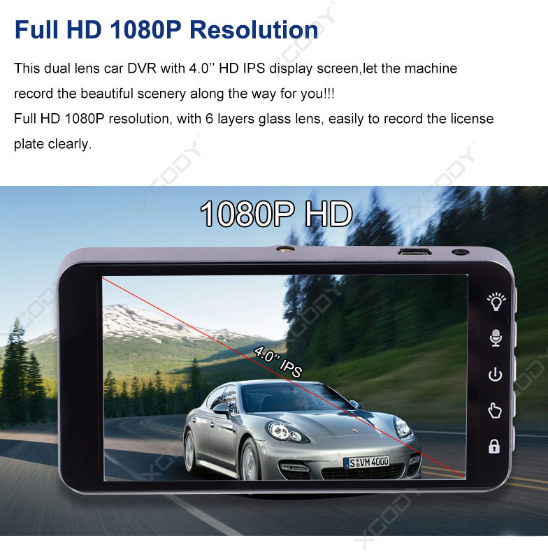 "XGODY A10 4"" Touch Screen FHD Car DVR Camera"