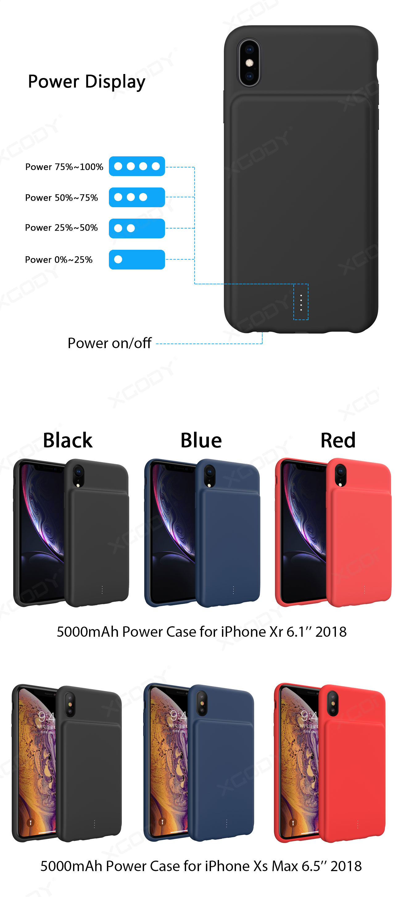 Ultra Thin Power Bank for iPhone Xr XsMax