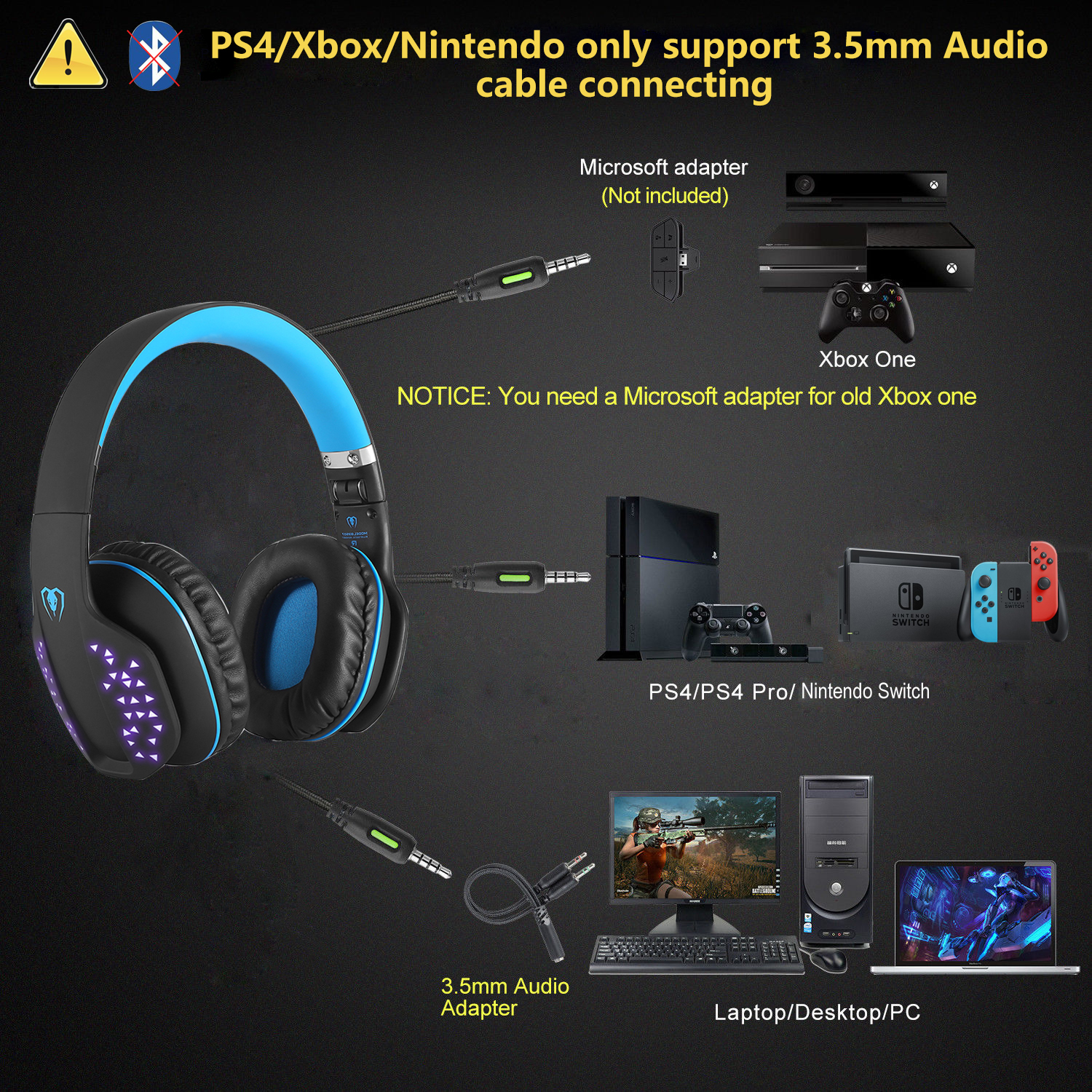 f r ps4 xbox one x laptop pc bluetooth gaming headset. Black Bedroom Furniture Sets. Home Design Ideas