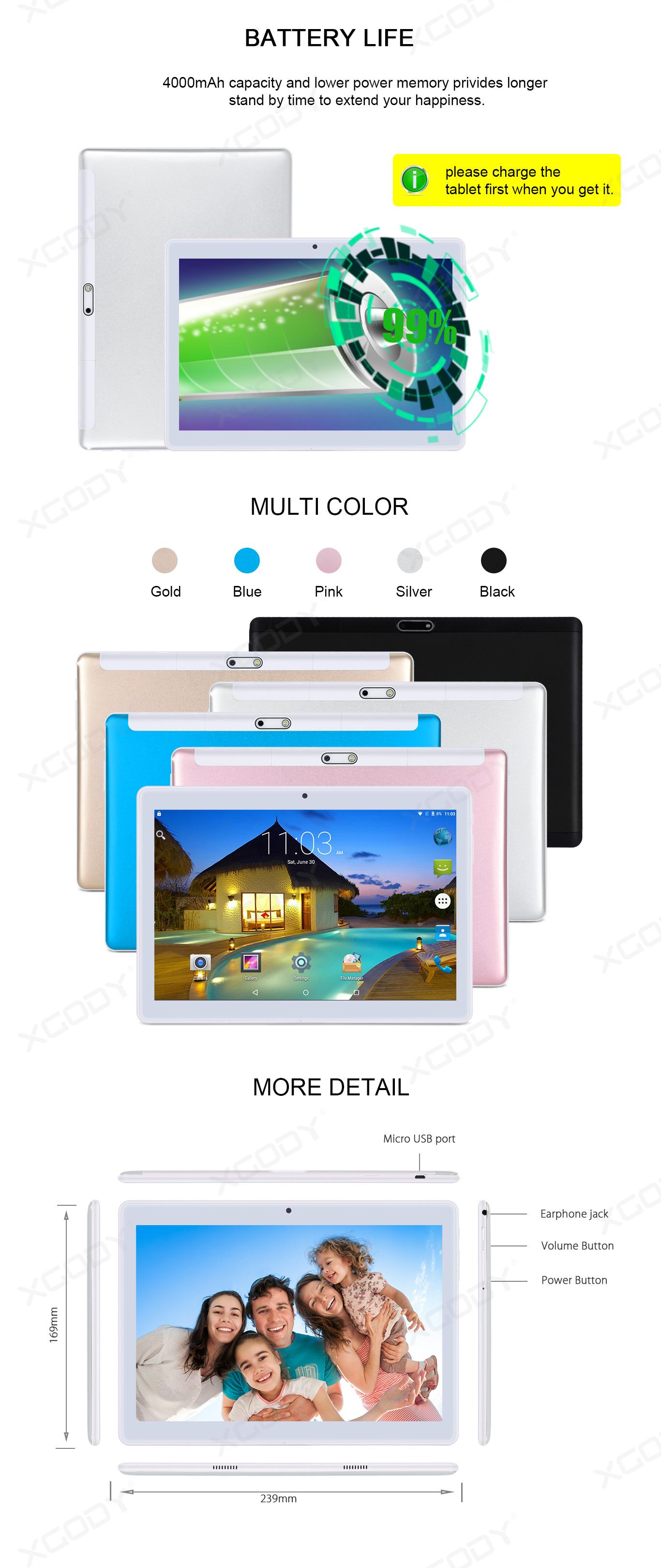 XGODY TB02 Tablet PC 10.1'' Zoll Dual SIM Phablet 16GB 3G
