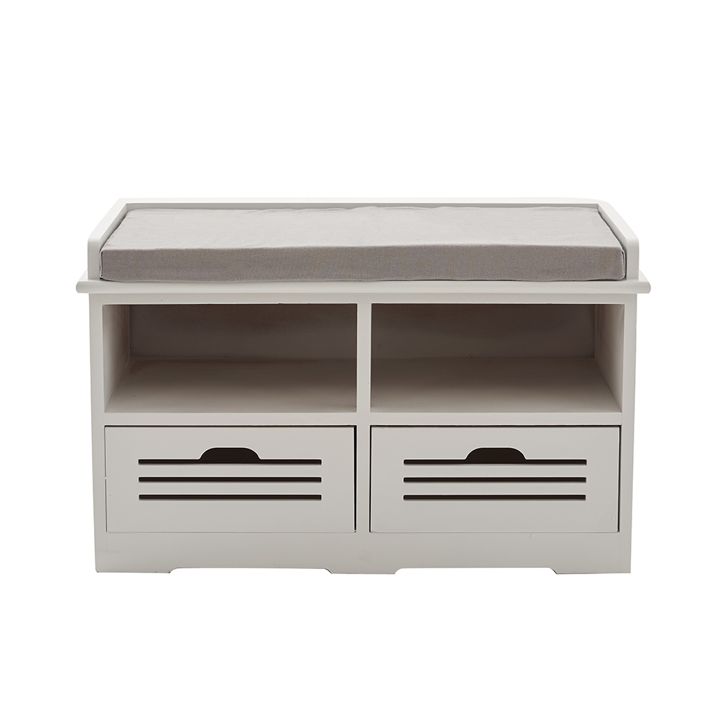 Portable Shoe Storage Bench With Drawers Padded Seat Stool