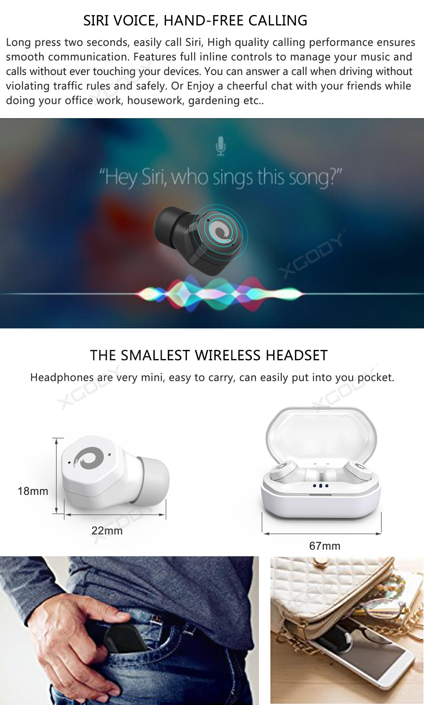 Mini Wireless Bluetooth 5.0 Earbuds True Bass Twins with Mic