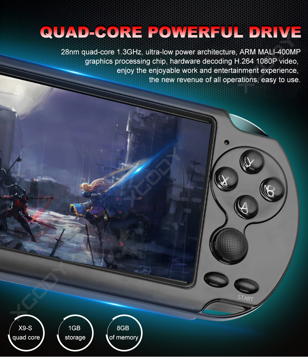 5.0-inch Screen X9S Portable Handheld Game Console 8GB