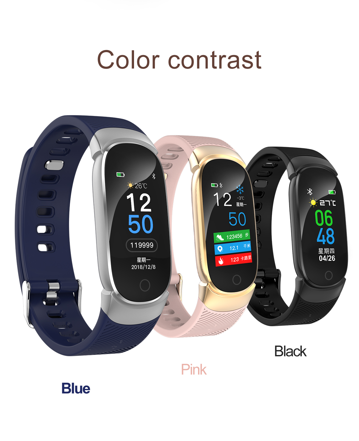 BC-07 Unisex Fitness Bracelet with IP67 Water Resistance
