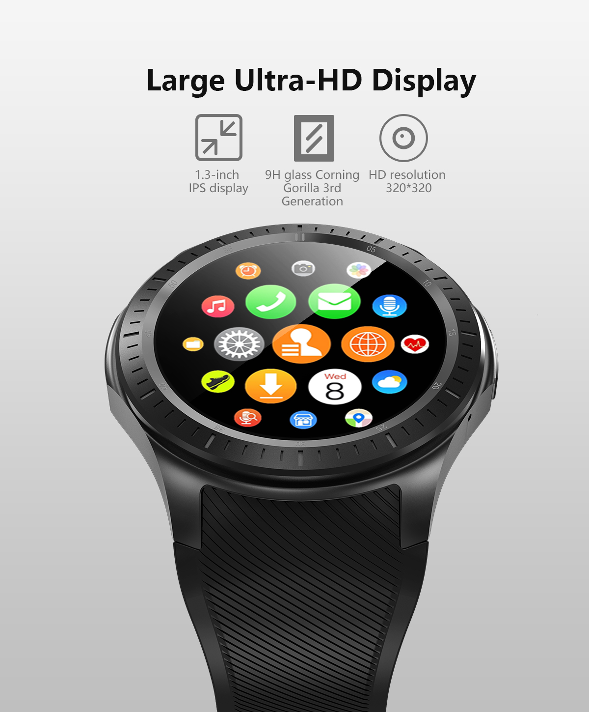 DM368 Android 7.1 Quad Core 1.3 inch Bluetooth SmartWatch