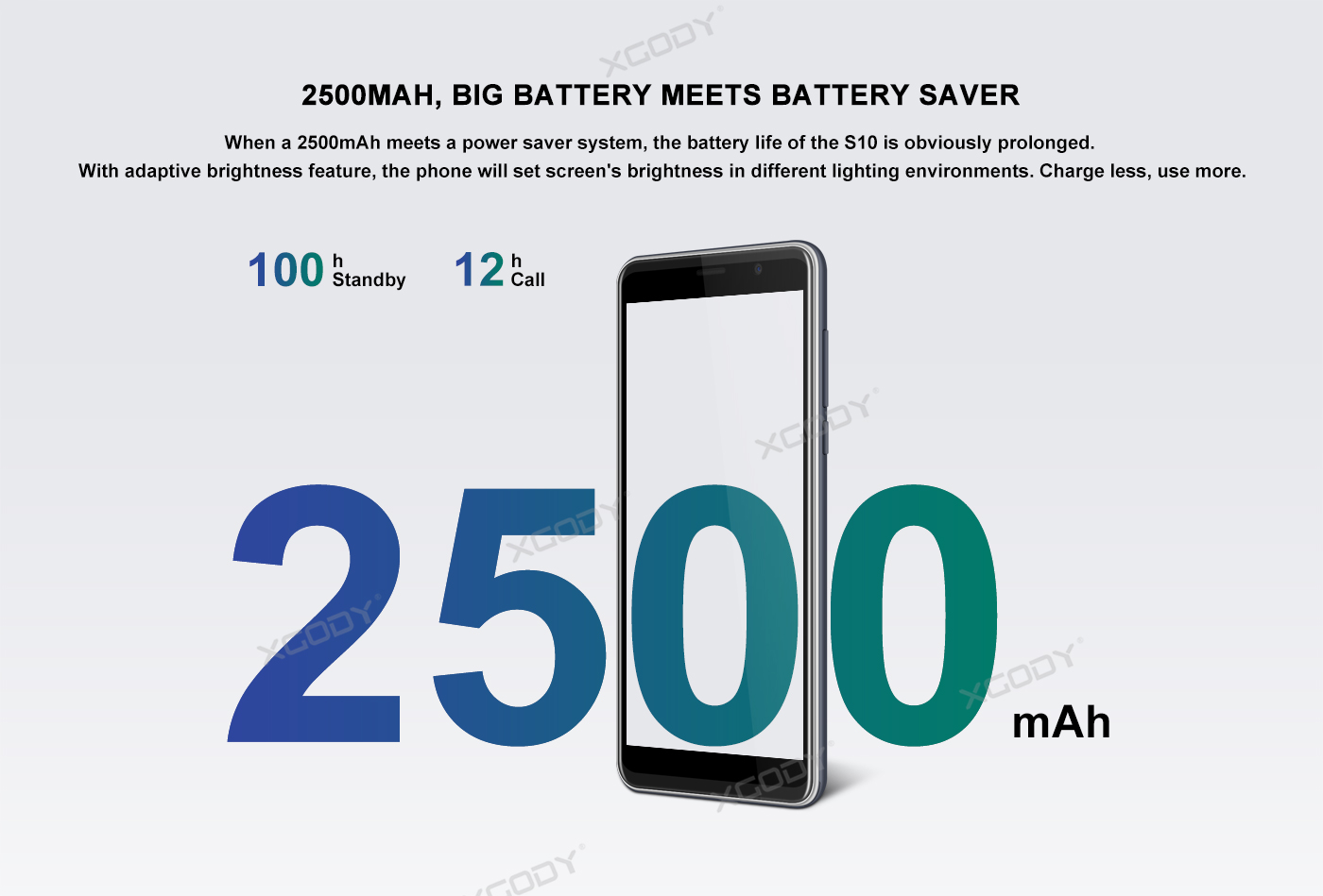 XGODY phone 2500mAh battery up to 100h in standby