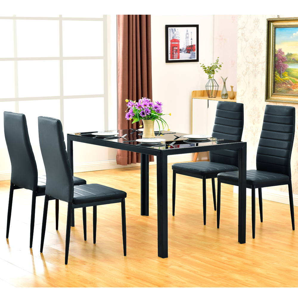 Details About New Dining Table Set Modern Style Gl Metal Le Furniture Black Us