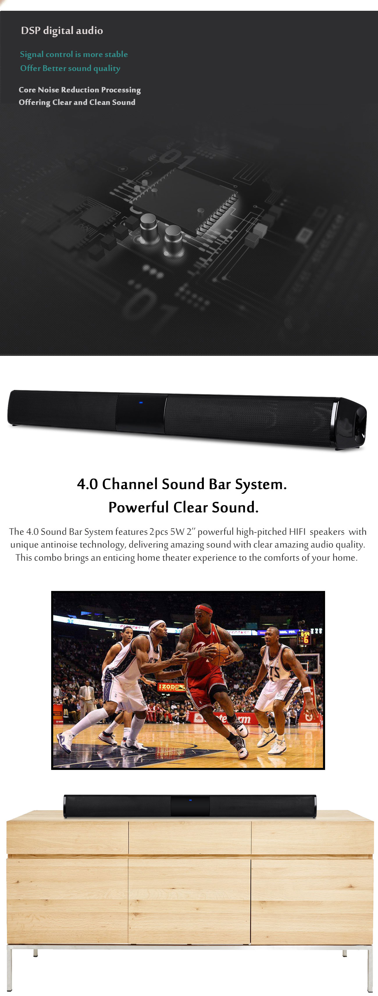 BS-28 Bluetooth Home Theater Sound Bar with Built-in Subwoofer