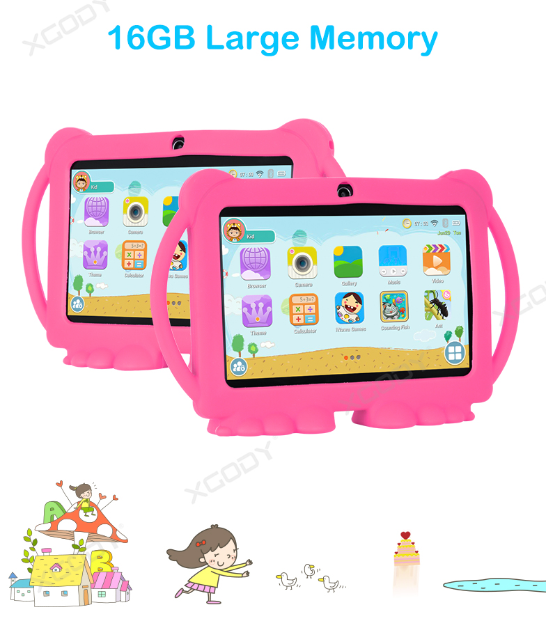 XGODY Kids Tablet PC Android 8.1 Dual Cam 1+16GB IPS Bluetooth WiFi 1024×600 HD