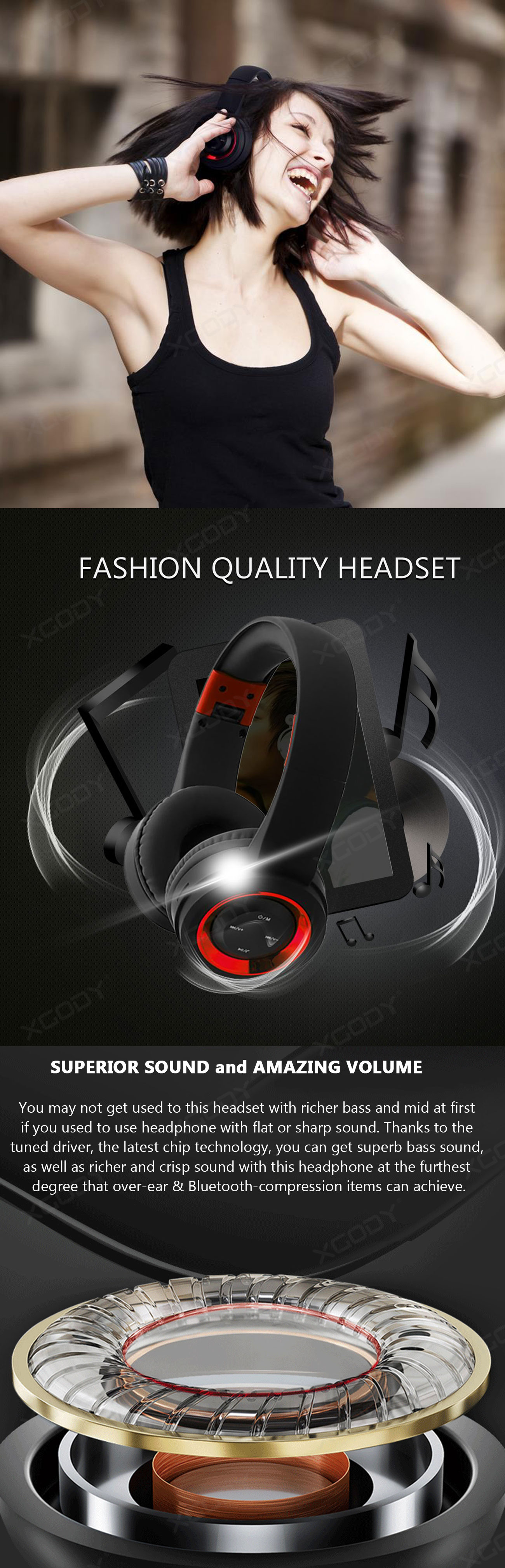 XGody H01 Wireless Bluetooth V4.2 Stereo Foldable Headset
