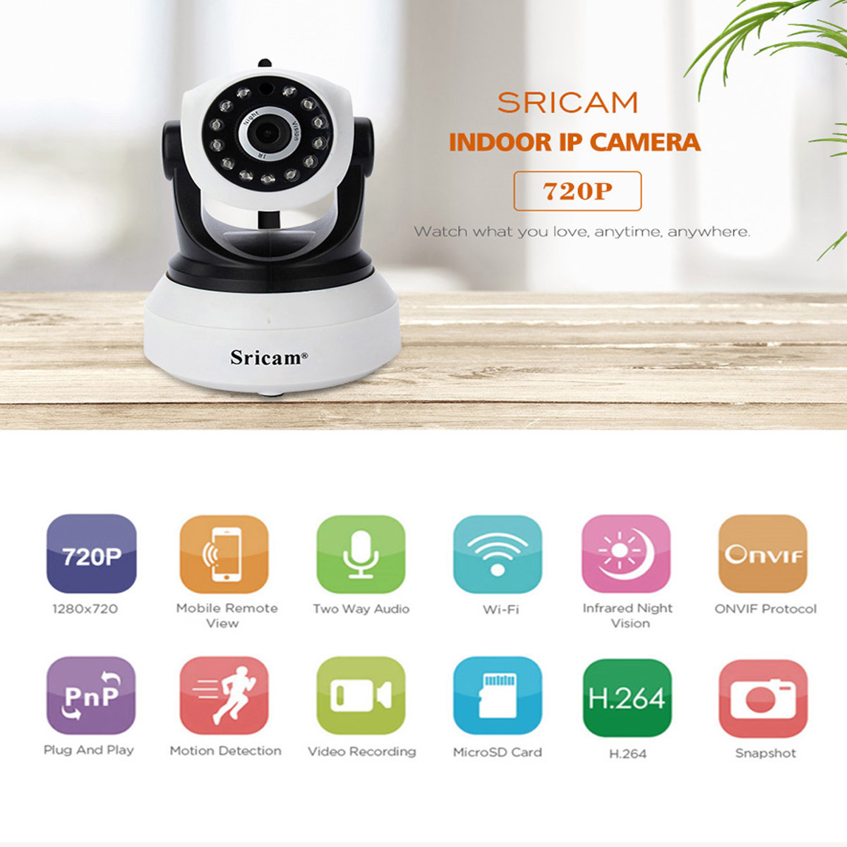 Details about Sricam Wireless HD 720P IP Camera Pan Tilt WiFi Home Security  CCTV Night Vision