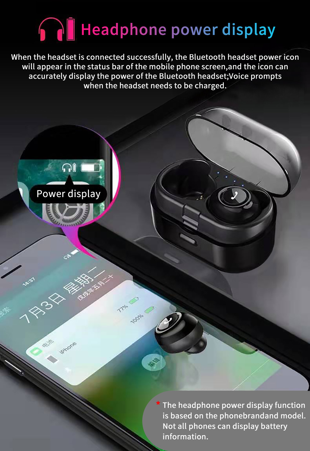 XGody CP7 Quick Pairing Charging Case Bluetooth 5.0 Earbuds