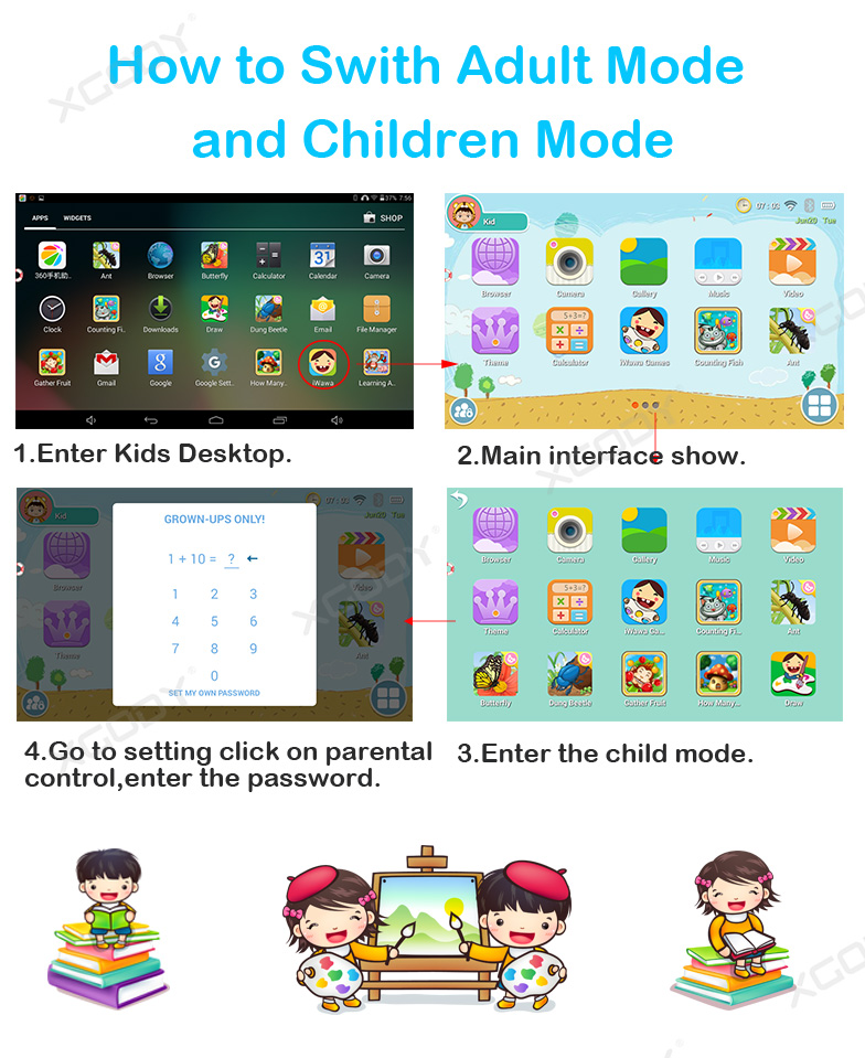 XGODY 7″ Android 8.1 Tablet PC For Kids Children 4-Core Dual Cam 16G IPS Bundled
