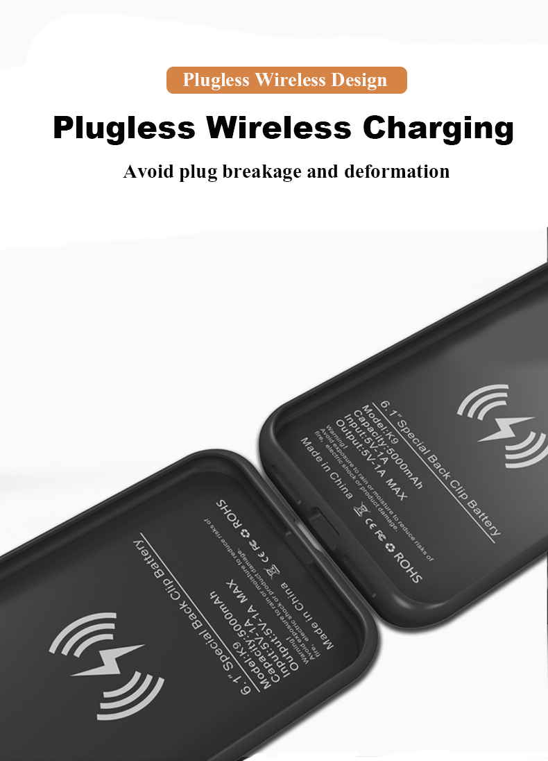 Qi Wireless Charging Case Backup Power Bank iPhone XR/XS MAX