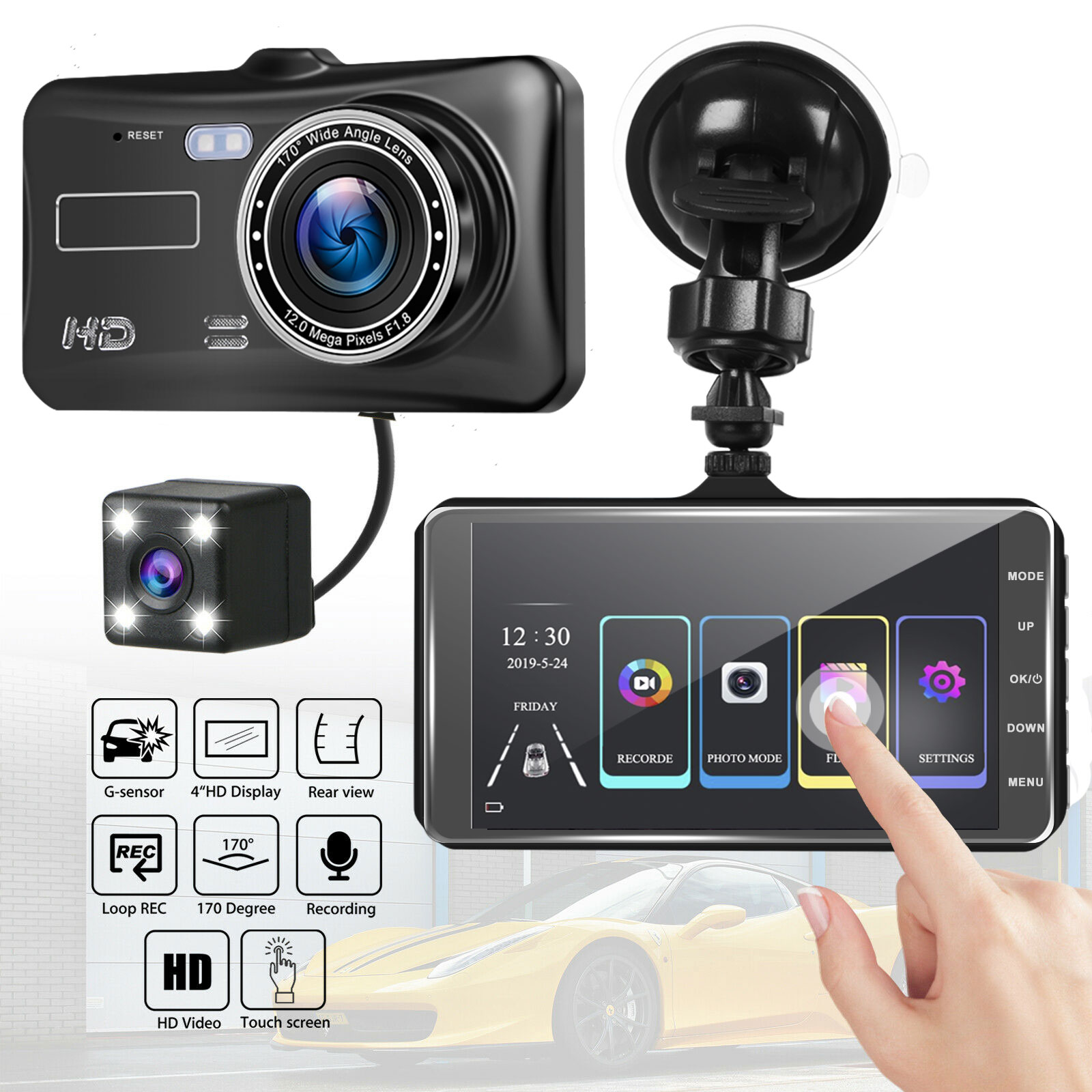 """1080P Dual Lens Front and Rear Camera Dashboard DVR 4/"""" IPS LCD Screen for Cars"""