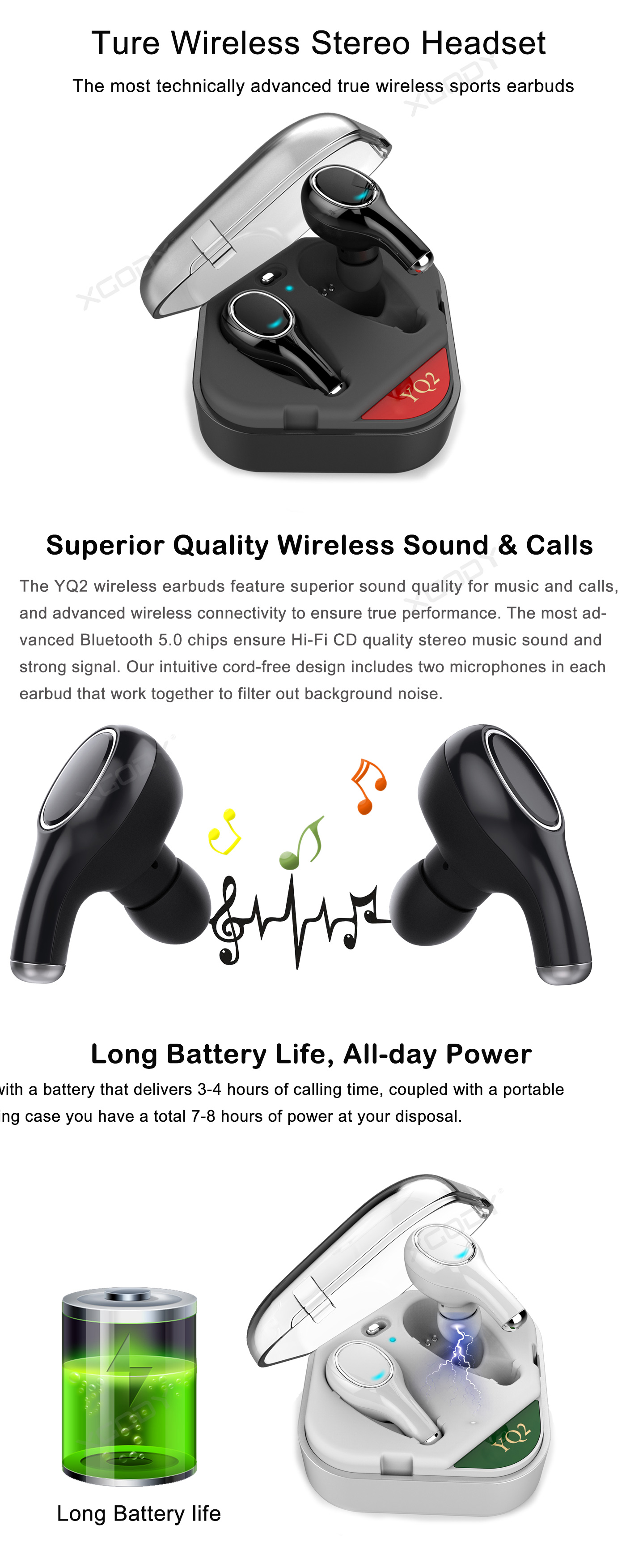 XGody YQ2 Ultra Bass Charging Case Black/White Earbuds