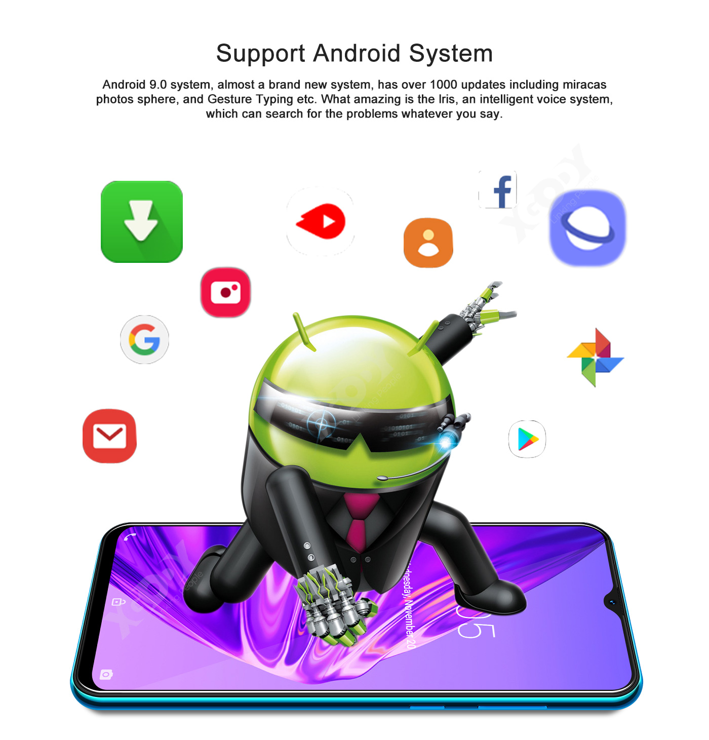"""6.6"""" Dual SIM Network Unlocked Android 9.0 Smartphone Cell"""