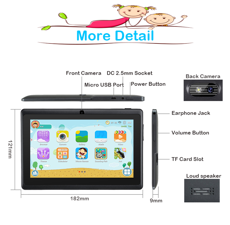 XGODY Newest 7″ INCH Android 8.1 HD Kids Tablet PC 16GB Quad-core Bluetooth WIFI