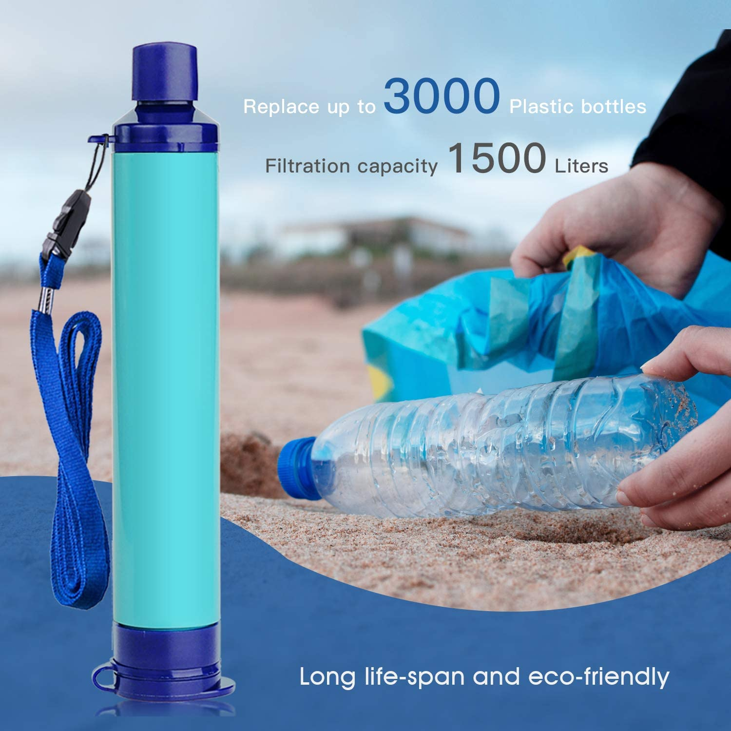 4x Water Filter Straw Outdoor Purification Emergency Blue for lake,river,stream