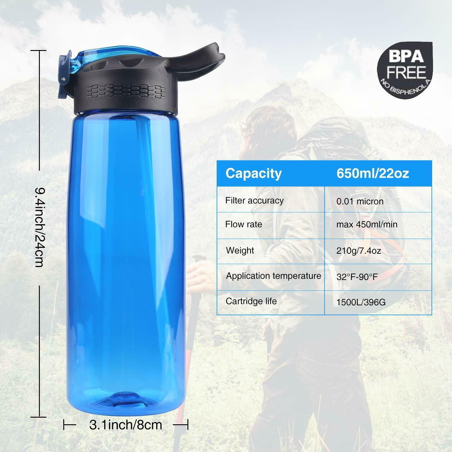 2pcs Portable Water Filter Bottle Purifier Emergency Survival Tool for Camping